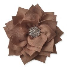 8cm Diamante Dahlia COFFEE BROWN Fabric Flower Applique